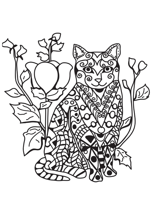 Coloring page cat in the garden