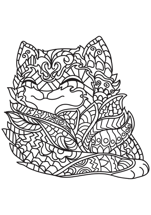 Coloring page cat is happy
