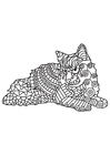 Coloring page cat is resting