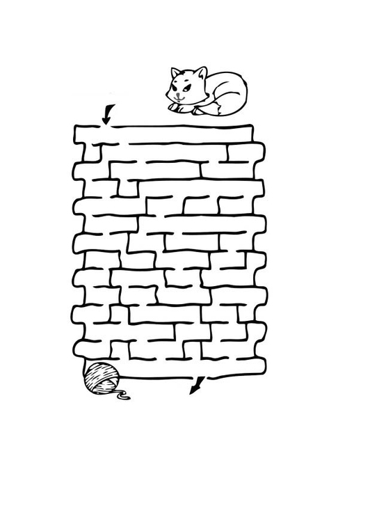 Coloring page cat maze