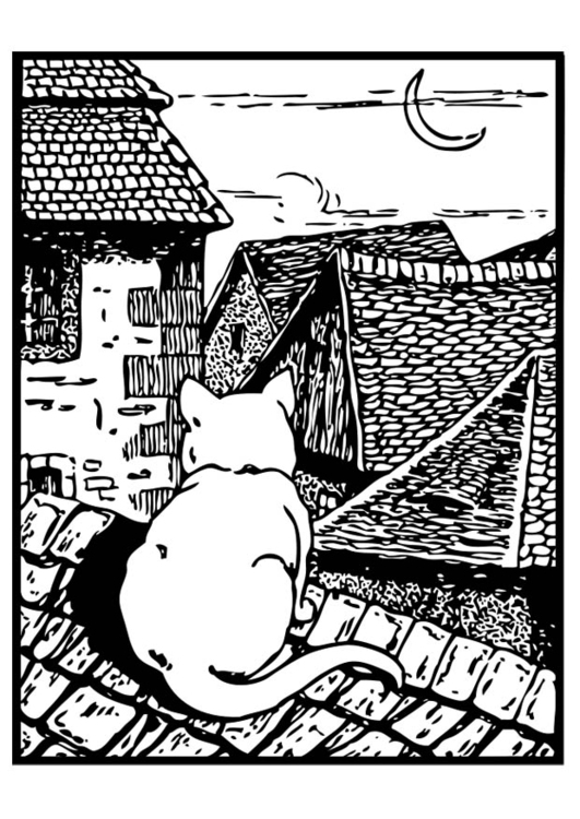 Coloring page cat on the roof