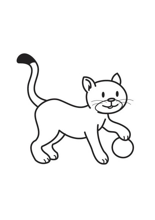 Coloring page Cat with Ball