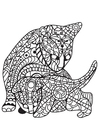 Coloring page cat with kitten