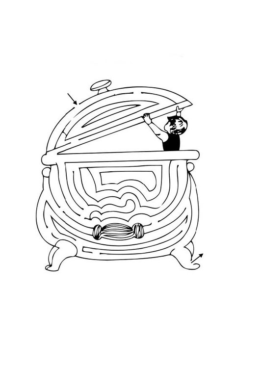 Coloring page cauldron web