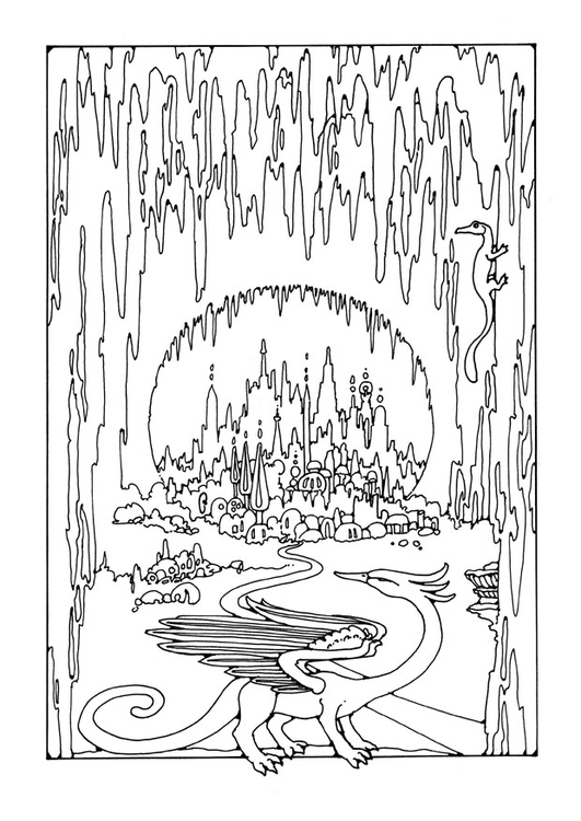 Coloring page cave city