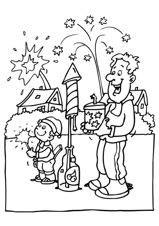Coloring page Celebrating New Year's Eve