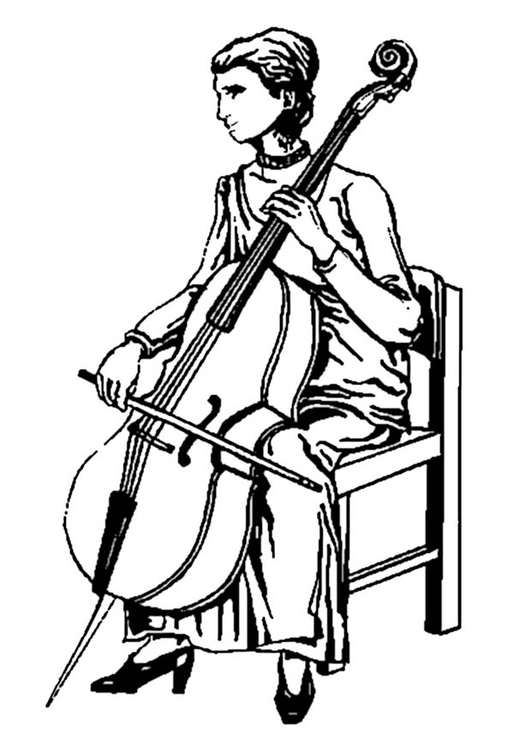 Coloring page cello