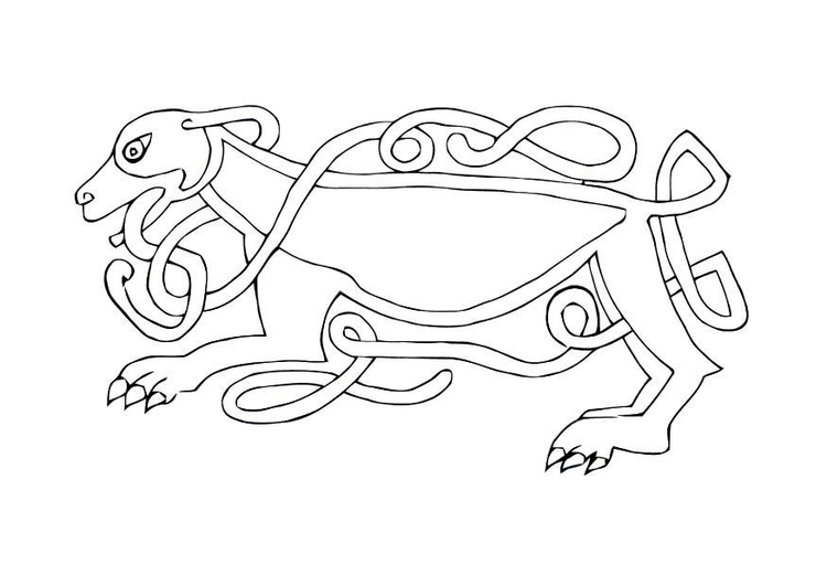 Coloring page celtic bird