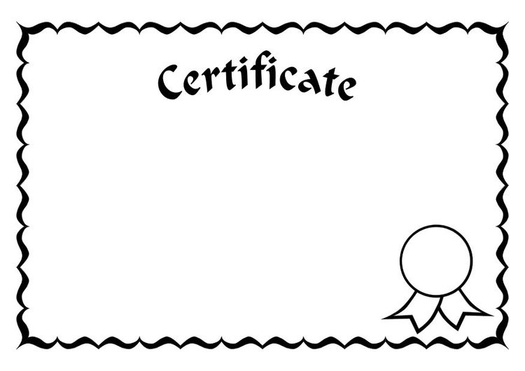 Coloring page certificate