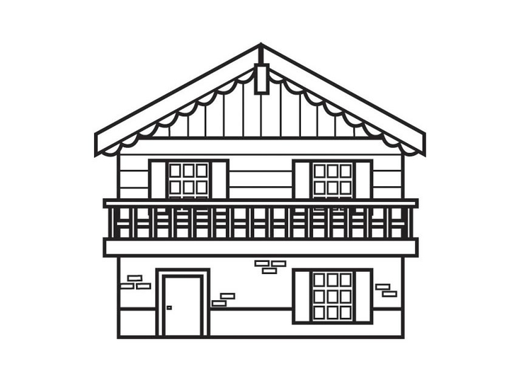 Coloring page chalet