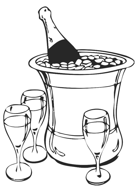Coloring page champagne