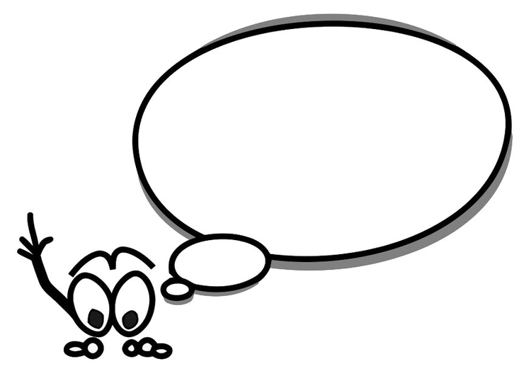 Coloring page character with speech balloon
