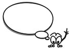 Coloring page character with speechballoon