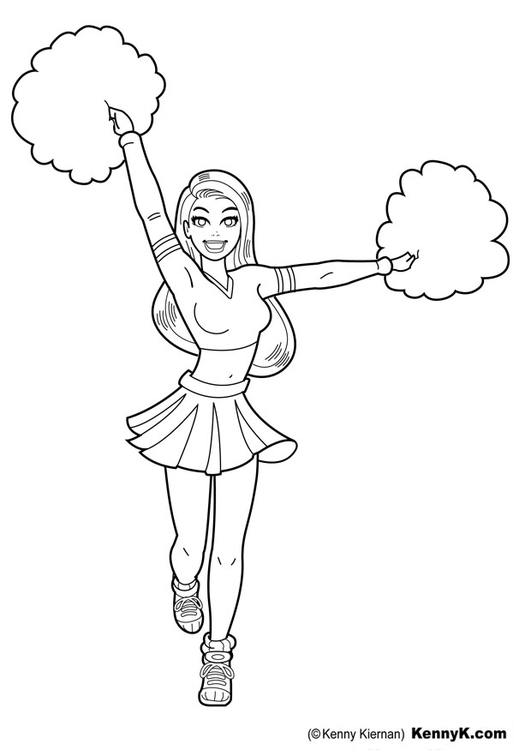 Coloring page cheerleader
