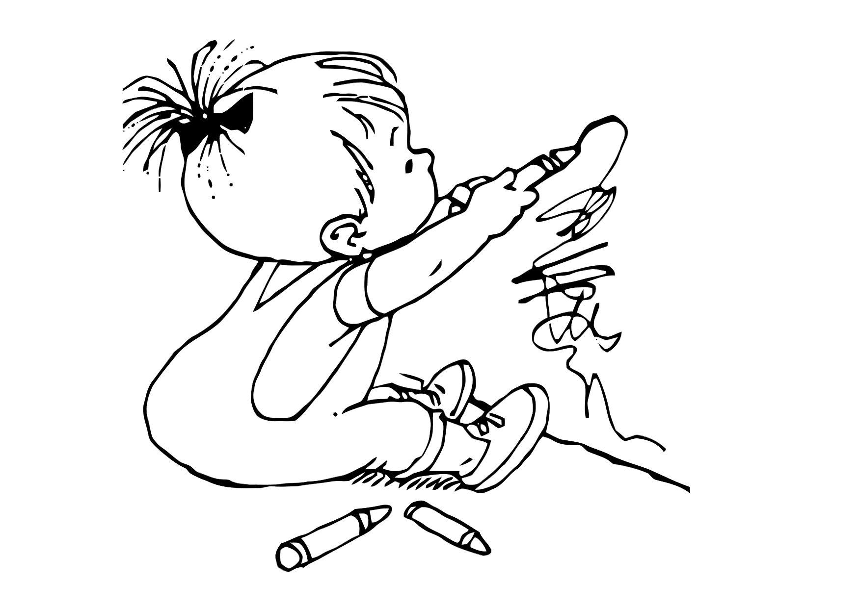 Coloring page child draws - img 11879.
