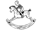 Coloring page child on rocking horse