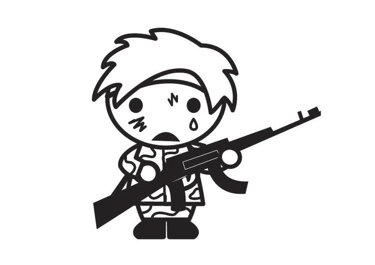 Coloring page child soldier