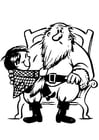 Coloring page child with Santa Claus