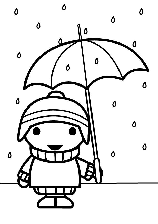 Coloring Page Child With Umbrella Img 26885