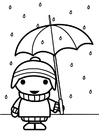 Coloring page child with umbrella