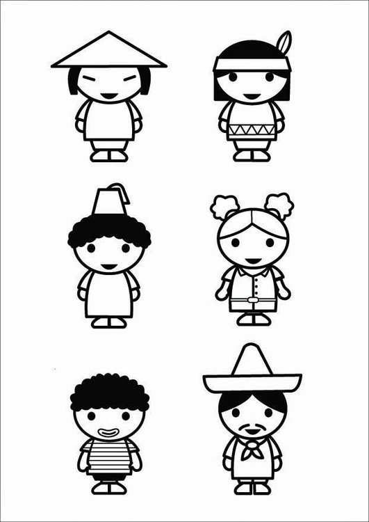 Coloring page children - cultures