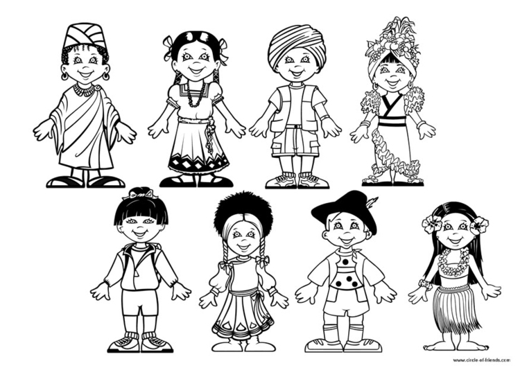 Coloring page children of the world - img 9281.