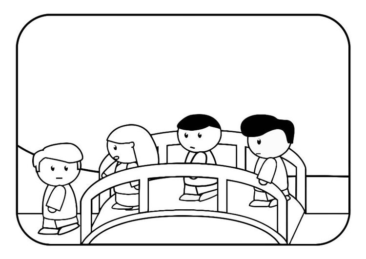 Coloring page children on bridge