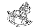 Coloring page children on rocking horse