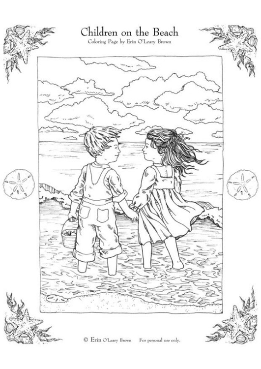 Coloring page children on the beach