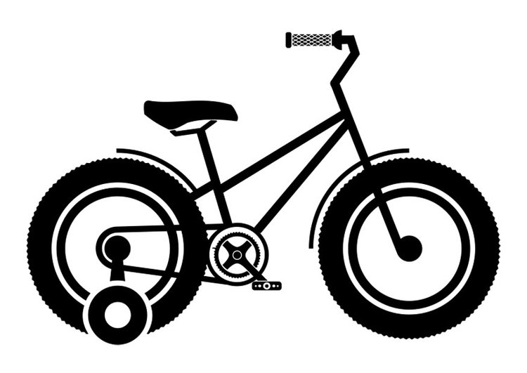 Coloring page children's bike with training wheels