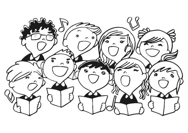 Coloring page children's choir