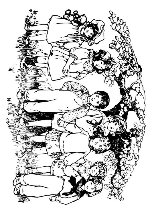 Coloring page children under the tree - img 27571.