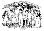 Coloring pages children under the tree