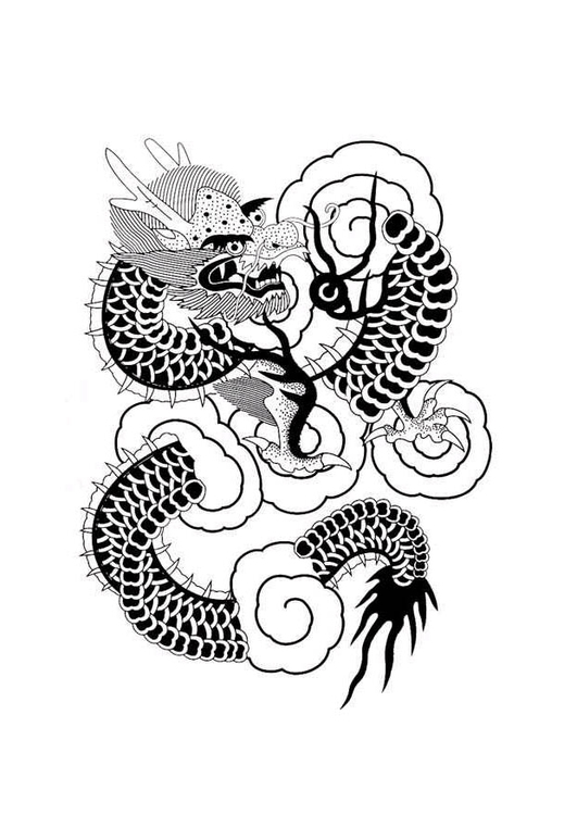 Coloring page Chinese dragon