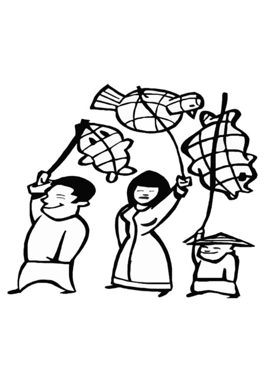 Coloring page chinese festival