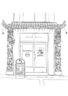 Coloring page Chinese restaurant
