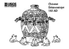 Coloring pages Chinese seismoscope 132 AD