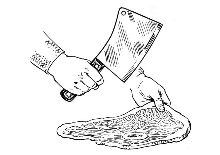 Coloring page chopping knife