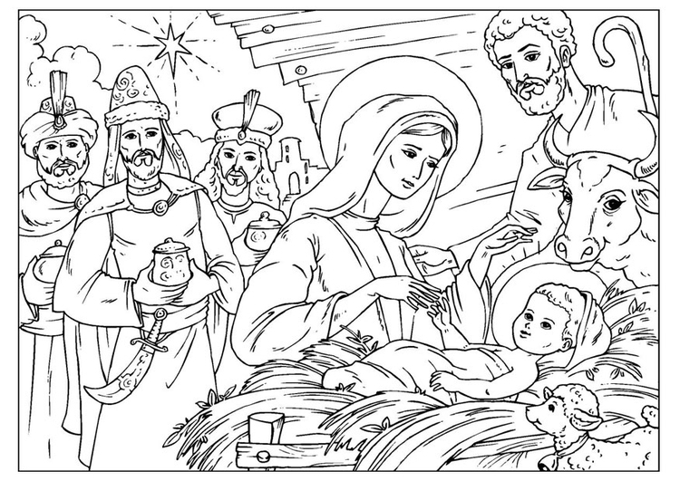 Coloring page Christ is born