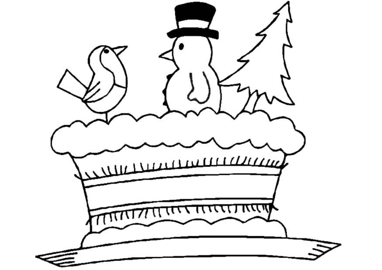 Coloring page Christmas Cake