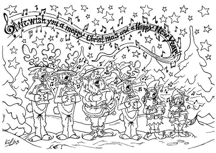 Coloring page Christmas choir