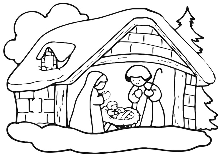 Coloring page christmas crib