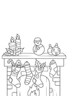 Coloring pages Christmas decorations with Christmas stocking