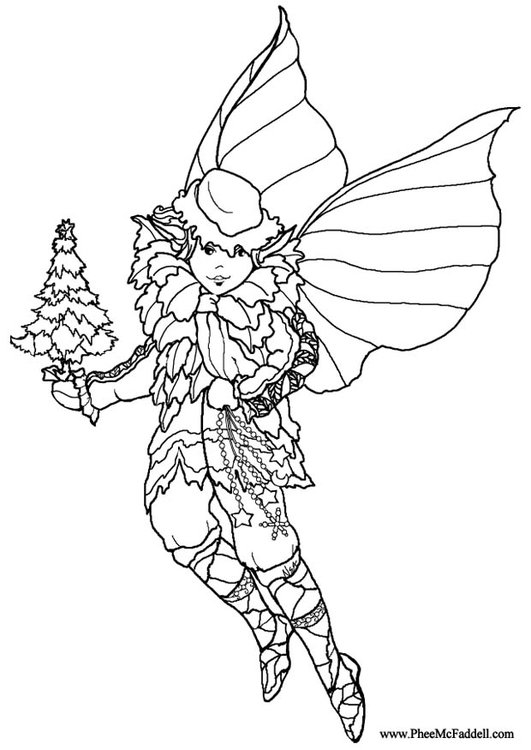 Coloring page christmas elf