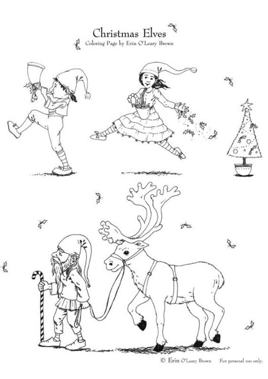Coloring page christmas elves