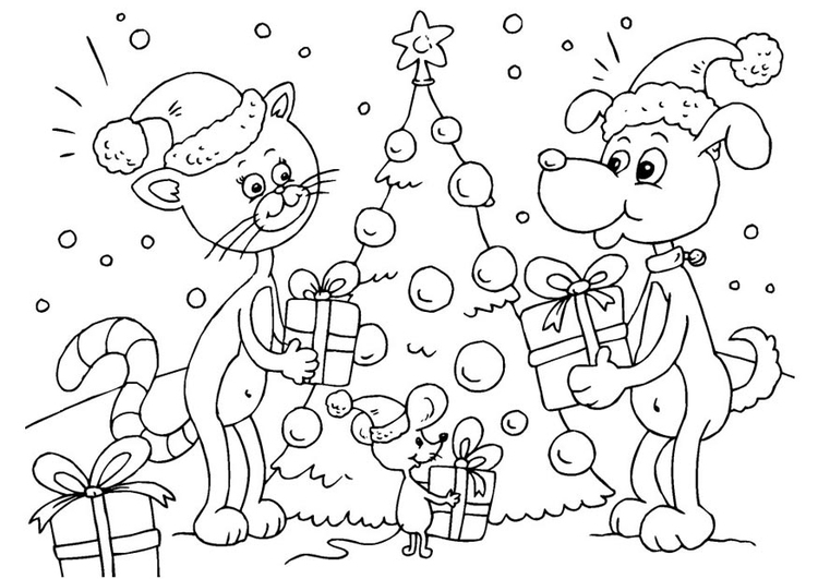 Coloring page Christmas for animals