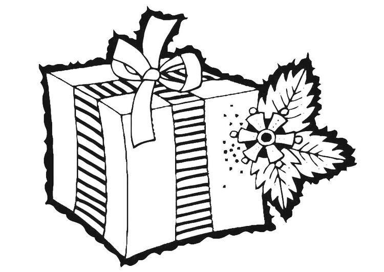Coloring page christmas gift