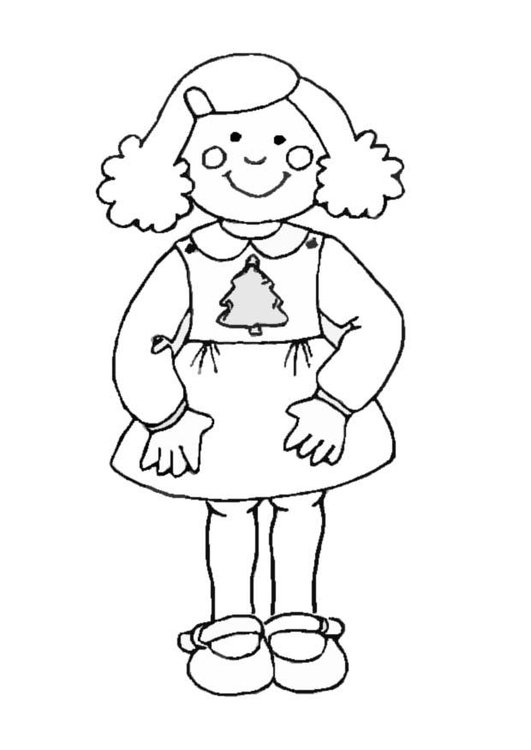 Coloring page Girl in Christmas dress