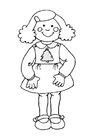 Coloring pages Girl in Christmas dress