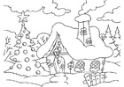 Coloring pages Christmas house